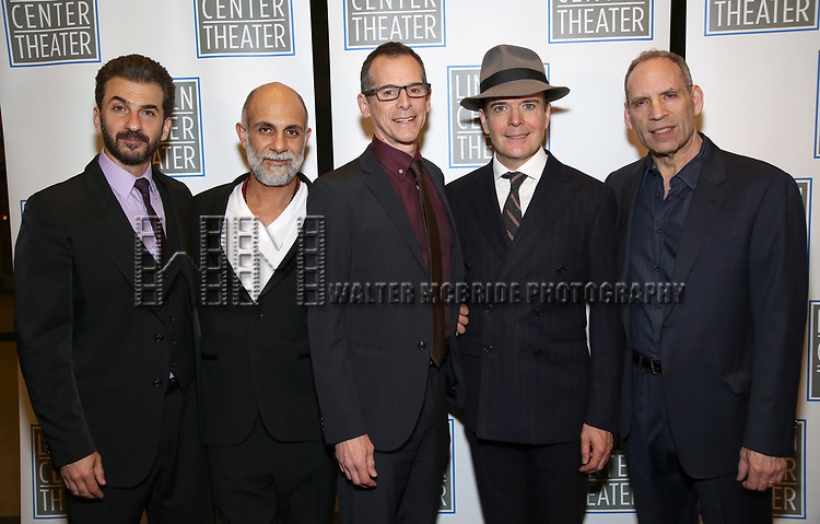 Michael Aronov, Anthony Azizi, T. Ryder Smith, Jefferson Mays and Daniel Oreskes attend the Opening Night Performance press reception for the Lincoln Center Theater production of 'Oslo' at the Vivian Beaumont Theater on April 13, 2017 in New York City.