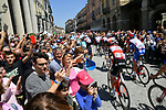 The start of Stage 12 of the 2019 Giro d'Italia, running 158km from Cuneo to Pinerolo, Italy. 23rd May 2019<br /> Picture: Gian Mattia D'Alberto/LaPresse | Cyclefile<br /> <br /> All photos usage must carry mandatory copyright credit (© Cyclefile | Gian Mattia D'Alberto/LaPresse)