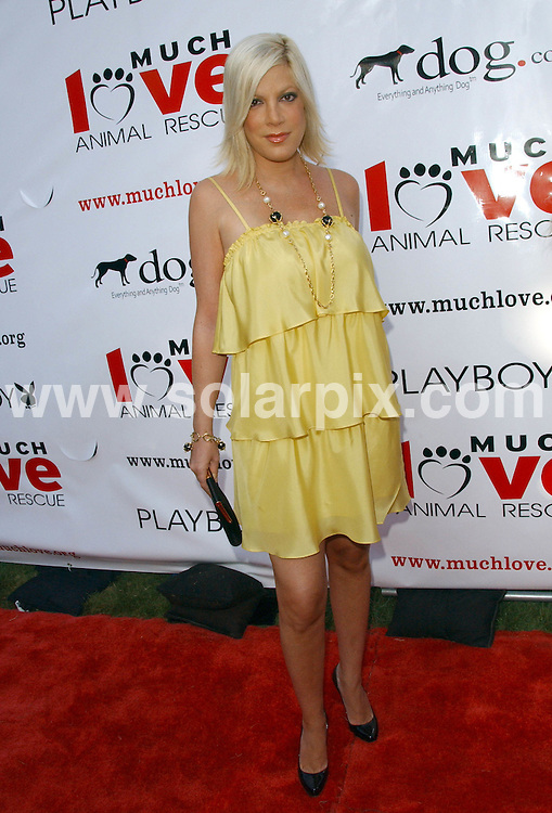 **ALL ROUND PICTURES FROM SOLARPIX.COM**.**SYNDICATION RIGHTS FOR UK, SPAIN, PORTUGAL, AUSTRALIA, S.AFRICA & DUBAI (U.A.E) ONLY**.The Much Love Animal Rescue Presents the Second Annual Bow Wow WOW! At the  Playboy Mansion in Holmby Hills, California in the USA..This pic:Tori Spelling..JOB REF:6884-PHZ/Albert L. Ortega    DATE:19_07_08 .**MUST CREDIT SOLARPIX.COM OR DOUBLE FEE WILL BE CHARGED* *UNDER NO CIRCUMSTANCES IS THIS IMAGE TO BE REPRODUCED FOR ANY ONLINE EDITION WITHOUT PRIOR PERMISSION*