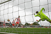 Jesse Joronen of Stevenage is unable to stop a header by Max Kretzschmar of Wycombe Wanderers finding the net during the Sky Bet League 2 match between Stevenage and Wycombe Wanderers at the Lamex Stadium, Stevenage, England on 17 October 2015. Photo by PRiME Media Images.