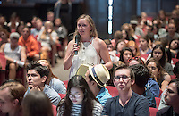 "Occidental College students listen to Dr. Jay Famiglietti, Professor of Earth System Science, Civil and Environmental Engineering at UC Irvine and Senior Water Cycle Scientist at NASA's Jet Propulsion Laboratory as he delivers the annual Antoinette and Vincent M. Dungan Lectureship on Energy and the Environment, which is also the inaugural 2015-16 Core Program lecture on water and sustainability. His lecture was called ""Water & Sustainability: 21st Century Realities."" Thorne Hall, Sept. 4, 2015.<br /> (Photo by Marc Campos, Occidental College Photographer)"