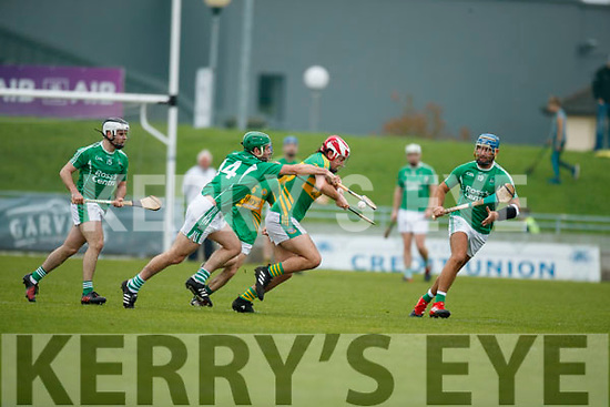 Mikey Boyle and Jack Goulding Ballyduff in action against Jeremy McKenna Lixnaw in the Senior County Hurling Final in Austin Stack Park on Sunday