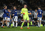 Jordan Pickford of Everton celebrates the win during the premier league match at Goodison Park Stadium, Liverpool. Picture date 23rd April 2018. Picture credit should read: Simon Bellis/Sportimage