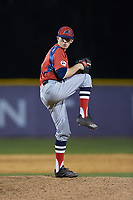 NJIT Highlanders relief pitcher Chris Gibbons (31) in action against the High Point Panthers at Williard Stadium on February 18, 2017 in High Point, North Carolina. The Highlanders defeated the Panthers 4-2 in game two of a double-header. (Brian Westerholt/Four Seam Images)