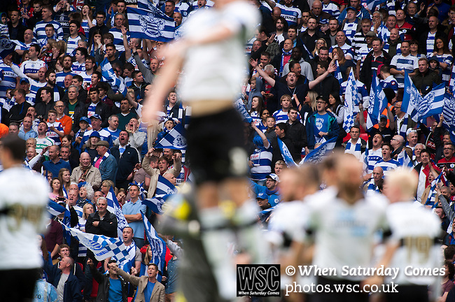 Queens Park Rangers 1 Derby County 0, 24/05/2014. Wembley Stadium, Championship Play Off Final. Derby County team just before kick off in the Championship Play-Off Final between Queens Park Rangers and Derby County from Wembley Stadium. Queens Park Rangers won the game 1-0 to gain promotion to the Premier League.  Photo by Simon Gill.