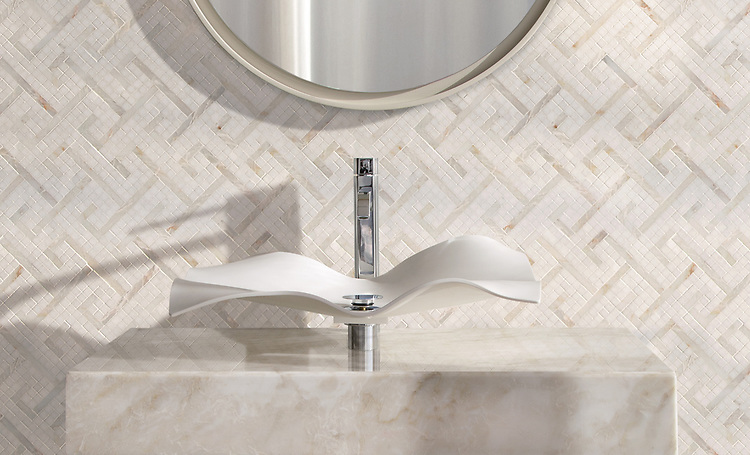 Jasmine sink shown with Goffigan in polished Dolomite and Cloud Nine.