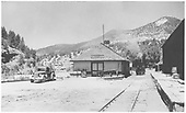 South end of RGS Placerville depot with #42 approaching on the house track.<br /> RGS  Placerville, CO  Taken by Jackson, Richard B. - 7/6/1939
