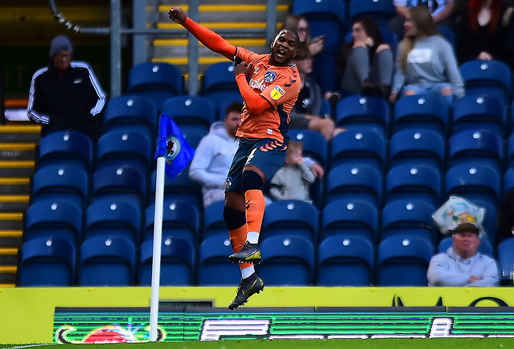 Oldham Athletic's Gevaro Nepomuceno celebrates scoring his side's first goal <br /> <br /> Photographer Richard Martin-Roberts/CameraSport<br /> <br /> The Carabao Cup First Round - Tuesday 13th August 2019 - Blackburn Rovers v Oldham Athletic - Ewood Park - Blackburn<br />  <br /> World Copyright © 2019 CameraSport. All rights reserved. 43 Linden Ave. Countesthorpe. Leicester. England. LE8 5PG - Tel: +44 (0) 116 277 4147 - admin@camerasport.com - www.camerasport.com