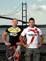 PICTURE BY VAUGHN RIDLEY/SWPIX.COM...Rugby League - International Origin - England v Exiles Shirt Launch - Humber Bridge, Hull, England - 03/05/11...Exiles Mark O'Meley and England's Tom Briscoe launch the playing shirt to be worn in the International Origin Match at Headingley on June 10th, 2011.