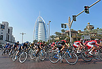 The peloton pass the Burj Al Arab during Stage 5 The Meraas Stage final stage of the Dubai Tour 2018 the Dubai Tour&rsquo;s 5th edition, running 132km from Skydive Dubai to City Walk, Dubai, United Arab Emirates. 10th February 2018.<br /> Picture: LaPresse/Fabio Ferrari | Cyclefile<br /> <br /> <br /> All photos usage must carry mandatory copyright credit (&copy; Cyclefile | LaPresse/Fabio Ferrari)