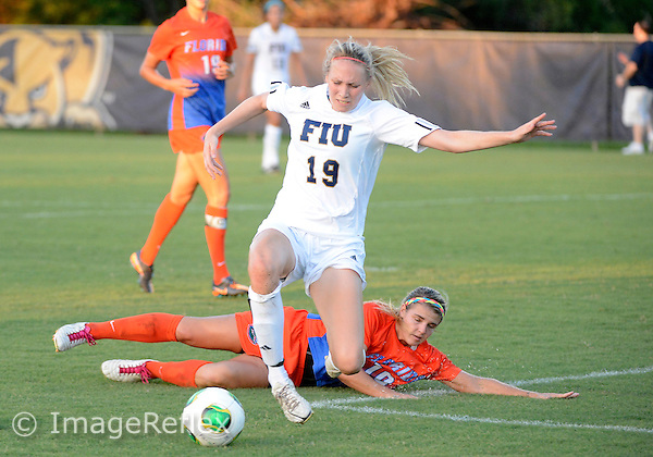 Florida International University women's soccer Midfielder Sara Stewart (19) plays against the University of Florida on September 1, 2013 at Miami, Florida. Florida won the game 4-0.