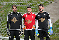 L-R Kristoffer Nordfellt Tony Roberts and Lukasz Fabianski during the Swansea City FC training at the club's Fairwood Training Ground in the outskirts of Swansea, south Wales, UK on Tuesday 12 April 2016