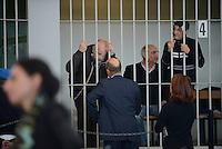 Roma, 19 Novembre 2015<br /> Imputati detenuti dietro le sbarre delle celle.<br /> Aula bunker di Rebibbia<br /> Terza udienza del processo Mafia Capitale, Roma Capitale, avvocati,