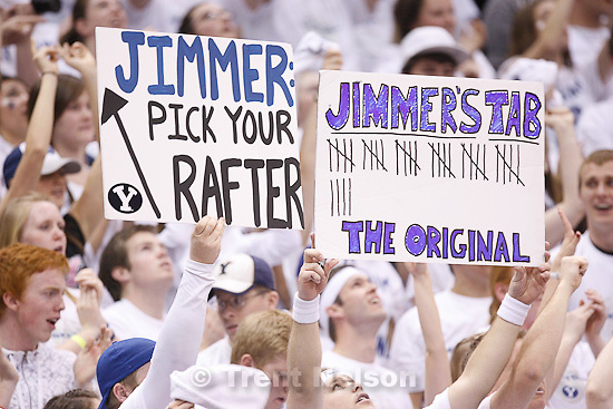 Trent Nelson  |  The Salt Lake Tribune.BYU fans hold up signs celebrating BYU's Jimmer Fredette as BYU hosts Wyoming, college basketball in Provo, Utah, Saturday, March 5, 2011. BYU's Jimmer Fredette