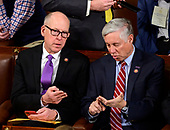 United States Representatives Greg Walden (Republican of Oregon), left, and Fred Upton (Republican of Michigan), right, converse as the 116th Congress convenes for its opening session in the US House Chamber of the US Capitol in Washington, DC on Thursday, January 3, 2019.<br /> Credit: Ron Sachs / CNP<br /> (RESTRICTION: NO New York or New Jersey Newspapers or newspapers within a 75 mile radius of New York City)