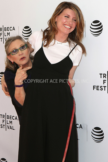 WWW.ACEPIXS.COM<br /> <br /> April 19 2016, New York City<br /> <br /> Actress Carrie Fisher and Sharon Horgan (R) arriving at Tribeca Tune In: 'Catastrophe' during the 2016 Tribeca Film Festival at SVA Theatre on April 19, 2016 in New York City. <br /> <br /> By Line: Nancy Rivera/ACE Pictures<br /> <br /> <br /> ACE Pictures, Inc.<br /> tel: 646 769 0430<br /> Email: info@acepixs.com<br /> www.acepixs.com