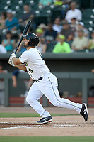 Designated hitter Chase Chambers (8) of the Columbia Fireflies bats in a game against the Rome Braves on Saturday, August 17, 2019, at Segra Park in Columbia, South Carolina. Rome won, 4-0. (Tom Priddy/Four Seam Images)