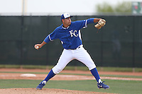 Kevin Perez #64 of the Kansas City Royals pitches during a Minor League Spring Training Game against the Texas Rangers at the Kansas City Royals Spring Training Complex on March 20, 2014 in Surprise, Arizona. (Larry Goren/Four Seam Images)