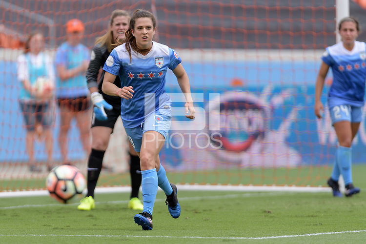 Houston, TX - Saturday April 15, 2017: Stephanie McCaffrey chases after a loose ball during a regular season National Women's Soccer League (NWSL) match won by the Houston Dash 2-0 over the Chicago Red Stars at BBVA Compass Stadium.