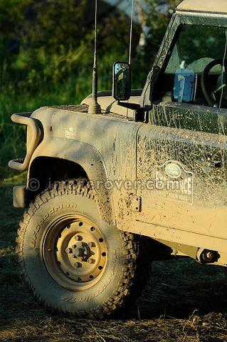 Germany, Bad Kissingen, Allrad Messe, 25-29.05.2005. Land Rover Defender, Land Rover Experience. Mud. --- No releases available. Automotive trademarks are the property of the trademark holder, authorization may be needed for some uses.