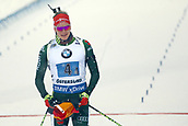 16th March 2019, Ostersund, Sweden; IBU World Championships Biathlon, day 8, mens relay; Benedikt Doll (GER) celebrates as he comes across the finish line