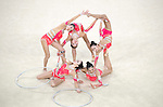 Japan team group (JPN),<br /> AUGUST 20, 2016 - Rhythmic Gymnastics :<br /> Group All-Around Qualification, Rotation 2 Clubs and Hoop at Rio Olympic Arena during the Rio 2016 Olympic Games in Rio de Janeiro, Brazil. (Photo by Enrico Calderoni/AFLO SPORT)