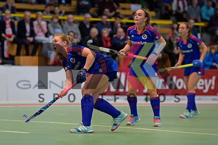 GER - Luebeck, Germany, February 06: During the 1. Bundesliga Damen indoor hockey semi final match at the Final 4 between Rot-Weiss Koeln (white) and Mannheimer HC (blue) on February 6, 2016 at Hansehalle Luebeck in Luebeck, Germany. Final score 1-2 (HT 0-2).   Nike Lorenz #16 of Mannheimer HC<br /> <br /> Foto &copy; PIX-Sportfotos *** Foto ist honorarpflichtig! *** Auf Anfrage in hoeherer Qualitaet/Aufloesung. Belegexemplar erbeten. Veroeffentlichung ausschliesslich fuer journalistisch-publizistische Zwecke. For editorial use only.