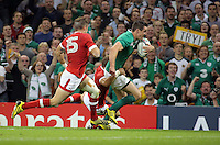 Pictured: Jonathan Sexton of Ireland (R) scores a try Saturday 19 September 2015<br /> Re: Rugby World Cup 2015, Ireland v Canada at the Millennium, Stadium, Wales, UK