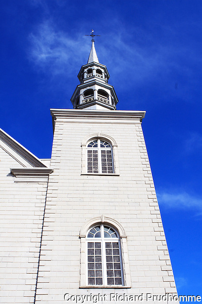 Bell tower at  the Sainte-Famille catholic Church in Cap-Sante along the chemin du Roy in Quebec