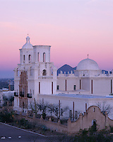 San Xavier Reservation, AZ  <br /> San Xavier del Bac Mission on pre-dawn pastel light