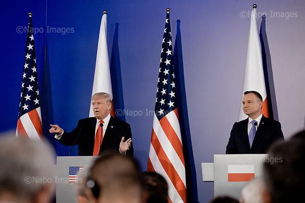 Warsaw, Poland, 6/07/2017:<br /> Press conference with Trump and Polish president Andrzej Duda during visit of US president Donald Trump in Poland.<br /> Photo by Piotr Malecki / Napo Images<br /> <br /> Prezydenci Donald Trump i Andrzej Duda - konferencja prasowa. Wizyta prezydenta Trumpa w Polsce, Warszawa 6/07/2017<br /> Fot: Piotr Malecki / Napo Images