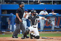 Wake Forest Demon Deacons catcher Ben Breazeale (39) on defense as home plate umpire Perry Costello looks on 2018 during the game against the Florida Gators in the completion of Game Two of the Gainesville Super Regional of the 2017 College World Series at Alfred McKethan Stadium at Perry Field on June 12, 2017 in Gainesville, Florida. The Demon Deacons walked off the Gators 8-6 in 11 innings. (Brian Westerholt/Four Seam Images)
