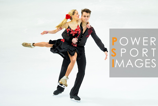 TAIPEI, TAIWAN - JANUARY 23:  Ksenia Korobkova and Daryn Zhunussov of Kazakhastan perform their routine at the Ice Dance Free Dance event during the Four Continents Figure Skating Championships on January 23, 2014 in Taipei, Taiwan.  Photo by Victor Fraile / Power Sport Images *** Local Caption *** Ksenia Korobkova; Daryn Zhunussov