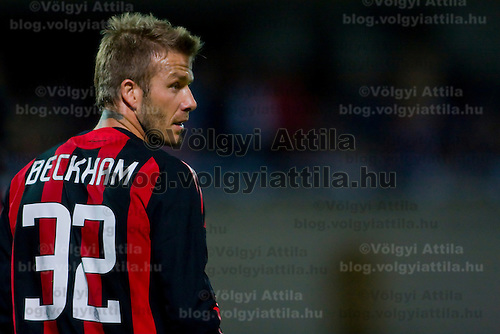 David Beckham from AC Milan plays against Hungary's league soccer team. Visitors won 5:2 against Hungary.