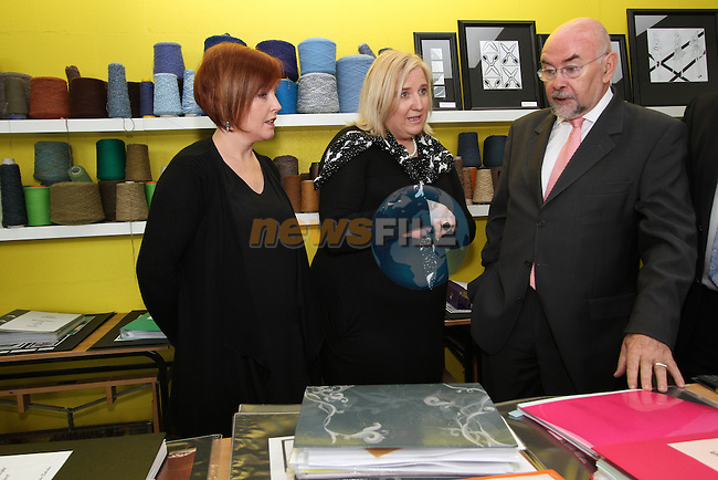 Ruairi Quinn TD Minister for Education and Skills with Fashion and Interiors Tutors Joanne Nolan and Joan Kennedy as he officially opens the New Extension at Drogheda Institute of Further Education...(Photo credit should read Jenny Matthews www.newsfile.ie)....This Picture has been sent you under the conditions enclosed by:.Newsfile Ltd..The Studio,.Millmount Abbey,.Drogheda,.Co Meath..Ireland..Tel: +353(0)41-9871240.Fax: +353(0)41-9871260.GSM: +353(0)86-2500958.email: pictures@newsfile.ie.www.newsfile.ie.