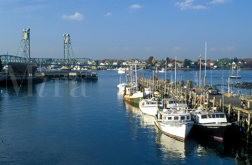 Portsmouth, NH, New Hampshire, Fishing boats docked at a marina in Portsmouth Harbor in Portsmouth in the autumn.