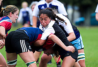 Action from the Manawatu women's club rugby Tri-Series match between Ko Tahi Trams (blue and red) and Manawa Toru (navy and white) at Linton Army Camp in Palmerston North, New Zealand on Saturday, 5 May 2018. Photo: Dave Lintott / lintottphoto.co.nz