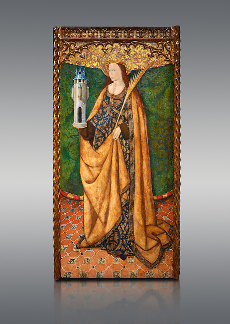 Gothic Aaltarpiece of Saint Barbara, 3rd quarter of the 15th century, tempera and gold leaf on for wood.  National Museum of Catalan Art, Barcelona, Spain, inv no: MNAC   114746-7.