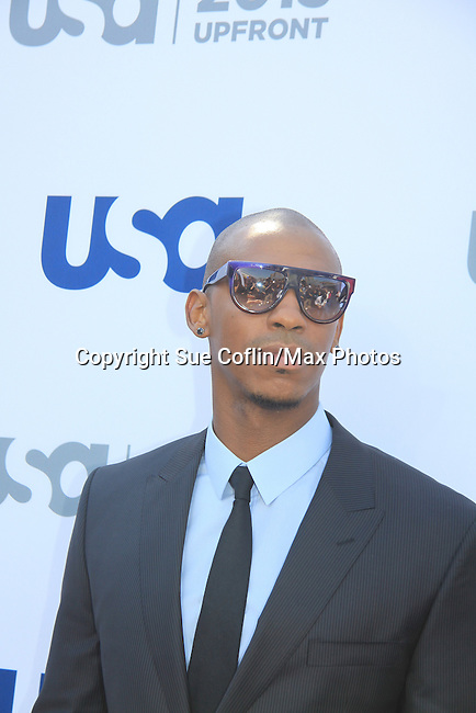 Mehcad Brooks - Necessary Roughness - USA Network's 2013 Upfront Event with actors from White Collar, Psych, Necessary Roughness, Royal Pains, Suits, Burn Notice, Covert Affairs and now joined by Modern Family on May 16, 2013 at Pier 36, New York City, New  (Photo by Sue Coflin/Max Photos)