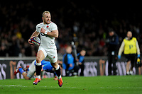 Dan Robson make sure his way is clear as he scores his first try for England during the Guinness Six Nations match between England and Italy at Twickenham Stadium on Saturday 9th March 2019 (Photo by Rob Munro/Stewart Communications)