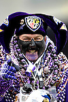 31 December 2006: Baltimore Ravens fan Steve LaPlanche, wearing over 40 pounds of good luck beads, cheers his team on during a game against the Buffalo Bills at M&T Bank Stadium in Baltimore, Maryland. The Ravens defeated the Bills 19-7. Mandatory Photo Credit: Ed Wolfstein Photo.<br />
