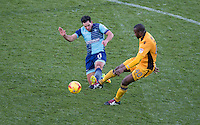 Sam Wood of Wycombe Wanderers & Abdoulaye Meite of Newport County during the Sky Bet League 2 match between Wycombe Wanderers and Newport County at Adams Park, High Wycombe, England on 2 January 2017. Photo by Andy Rowland.