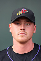 Nick Weglarz #40 of the Akron Aeros poses before a game against the Harrisburg Senators at Metro Bank Park on June 10, 2011 in Harrisburg, Pennsylvania.   ..Photo By Bill Mitchell/Four Seam Images