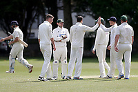Finchley celebrate their fourth wicket during Finchley CC vs Brondesbury CC (batting), ECB National Club Championship Cricket at Arden Field on 12th May 2019