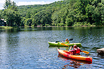 BEACON FALLS, CT. 13 July 2019-071319 - Rebecca Armstrong, 10, of Beacon Falls, left, and her father Greg Armstrong, paddles out together in their kayaks, during family day at Matthies Park in Beacon Falls on Saturday. Bill Shettle Republican-American