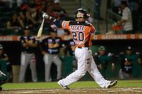 Jose Amador de naranjeros da de hit , durante el juego de beisbol de Naranjeros vs Cañeros durante la primera serie de la Liga Mexicana del Pacifico.<br /> 15 octubre 2013