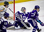 2 February 2020: With less than a minute to play in regulation time, Holy Cross Crusader Goaltender Jada Brenon, a Sophomore from Pendleton, NY, gives up a third period, game-tieing goal to the University of Vermont Catamounts at Gutterson Fieldhouse in Burlington, Vermont. Brenon made 51 saves in the game, keeping the Crusaders in the lead for almost the entire game. However, the Lady Cats rallied in the 3rd period to tie the Crusaders 2-2 in NCAA Women's Hockey East play. Mandatory Credit: Ed Wolfstein Photo *** RAW (NEF) Image File Available ***