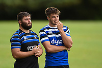 Will Vaughan and Josh Bayliss of Bath Rugby. Bath Rugby pre-season training on August 8, 2018 at Farleigh House in Bath, England. Photo by: Patrick Khachfe / Onside Images