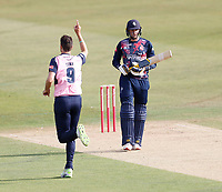 Steven Finn of Middlesex celebrates taking the wicket of Alex Blake (R) during Kent Spitfires vs Middlesex, Vitality Blast T20 Cricket at The Spitfire Ground on 16th September 2020