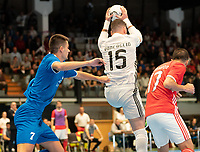 20191012 - HALLE: Benfica's GK Diego Roncaglio is doing a save during the UEFA Futsal Champions League Main Round match between FP Halle-Gooik (BEL) and SL Benfica (POR) on 12th October 2019 at De Bres Sportcomplex, Halle, Belgium. PHOTO SPORTPIX | SEVIL OKTEM